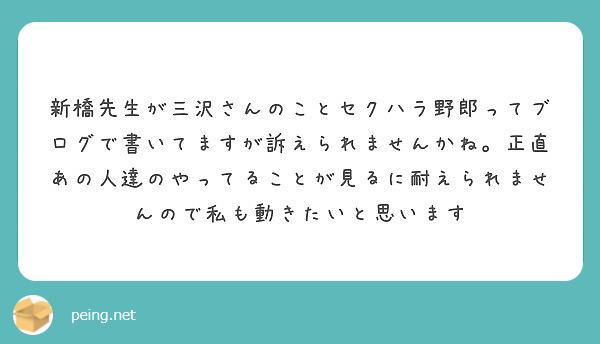 新橋先生が三沢さんのことセクハラ野郎ってブログで書いてますが訴えられませんかね。正直あの人達のやってることが見るに耐えられませんので私も動きたいと思います